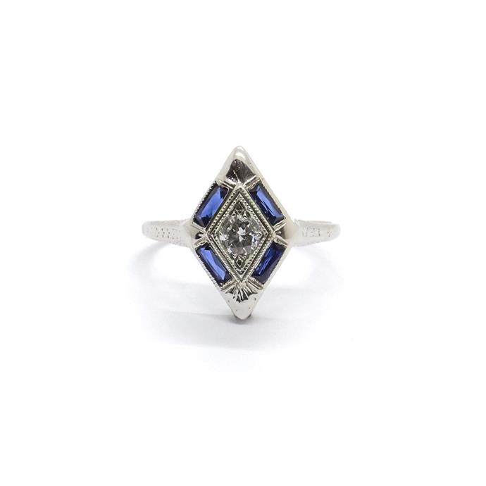"**The Vibe: Art Deco** <br><br> Diamond and sapphire ring, $2700 at [Natalie Marie Jewellery](https://www.nataliemariejewellery.com/products/art-deco-diamond-and-sapphire-ring?variant=47152720591|target=""_blank""