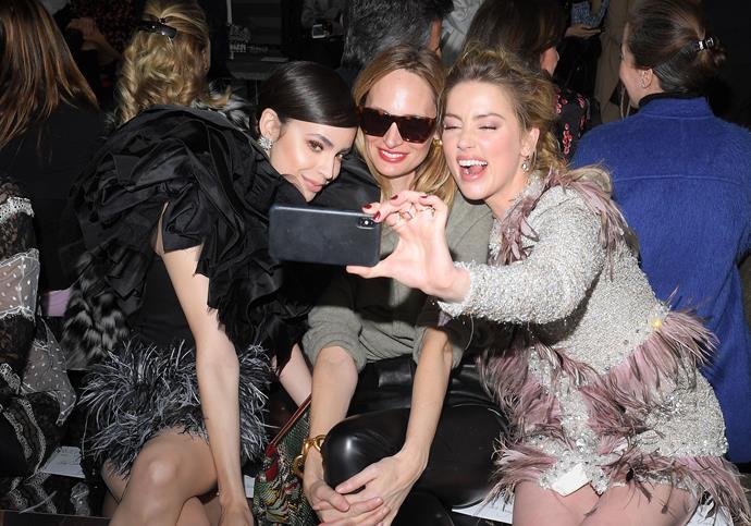 Sofia Carson, Lauren Santo Domingo and Amber Heard at Giambattista Valli.