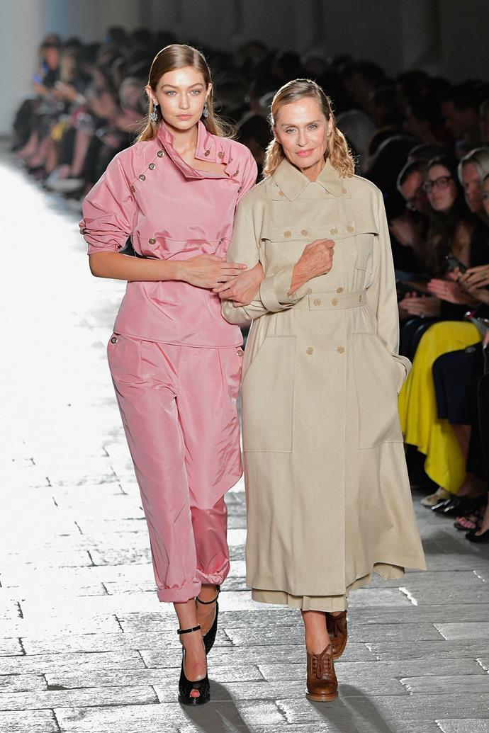 Lauren Hutton (age 75), with Gigi Hadid, at Bottega Veneta spring/summer '17.