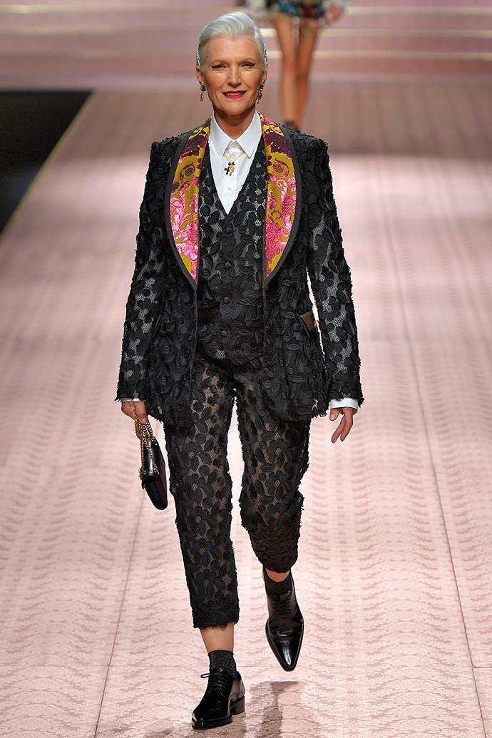 Maye Musk (age 70) at Dolce & Gabbana spring/summer '19.