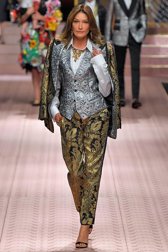Carla Bruni (age 51) at Dolce & Gabbana spring/summer '19.