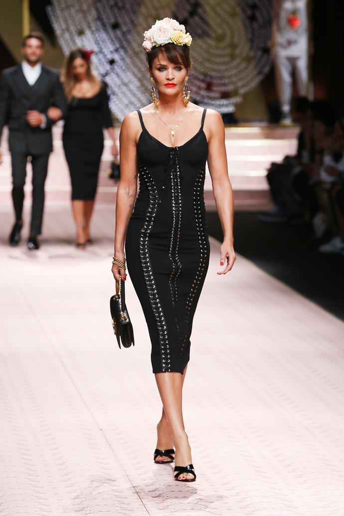Helena Christensen (age 50) at Dolce & Gabbana spring/summer '19.