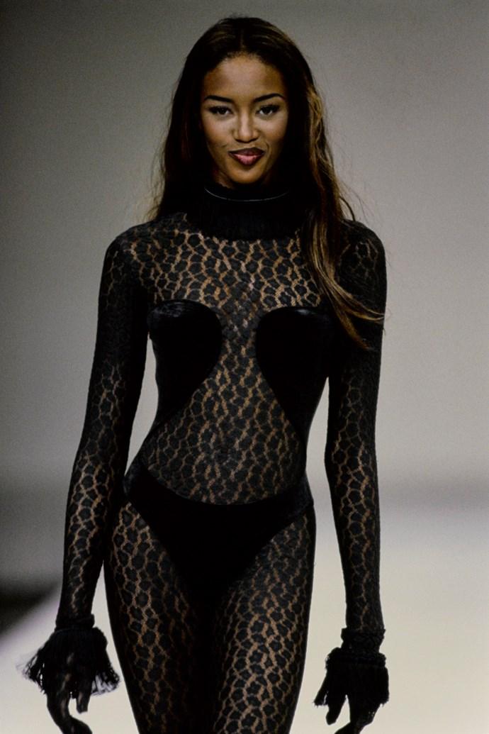 Naomi Campbell modelling the original garment at Alaïa's autumn/winter 1991-1992 show.