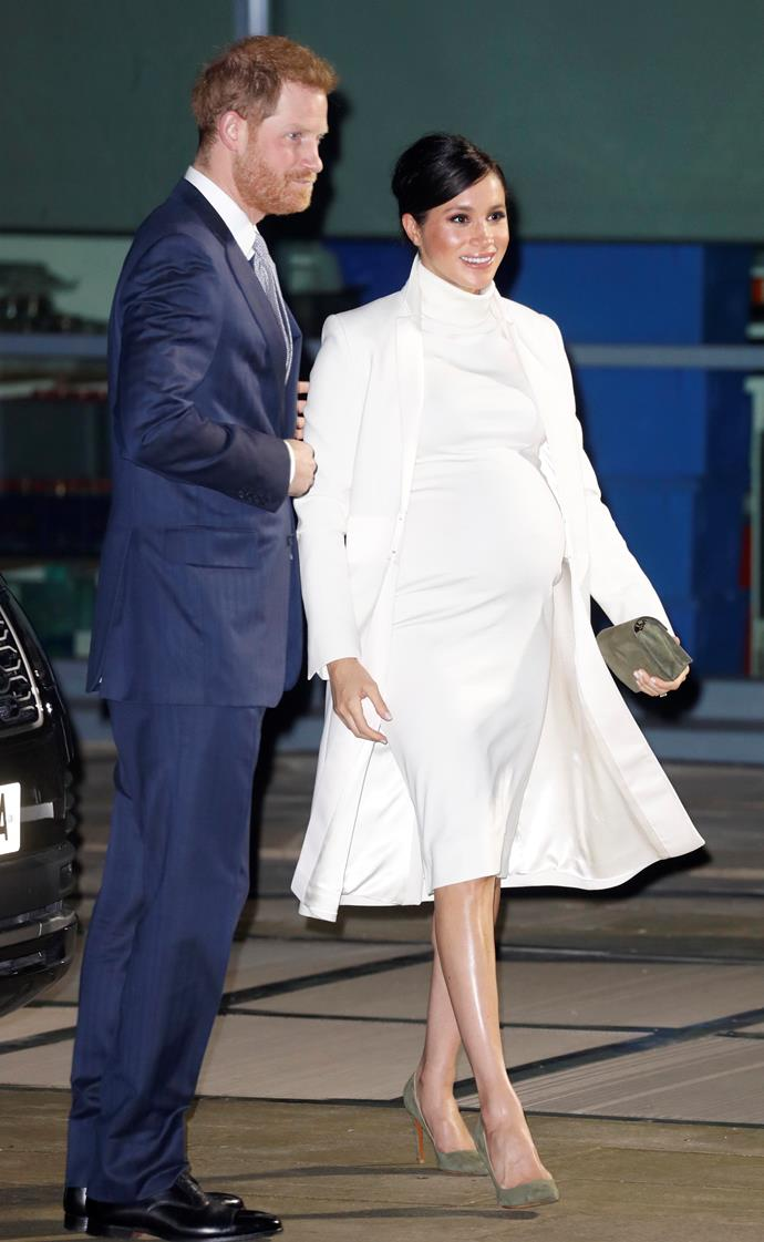 The Duchess in Calvin Klein on February 12, 2019.