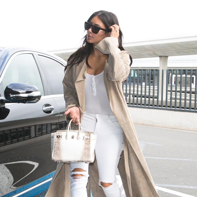 ***Kim Kardashian West*** <br><br> KKW has also been spotted with an extremely rare Himalayan Birkin in the past. The rarest form of Birkin on the market, Himalayan Birkins are made from white crocodile leather, and usually retail for over $100,000.