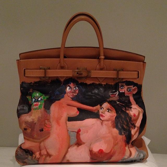 "***Kim Kardashian West*** <br><br> KKW's Birkin collection extends all the way to some extremely memorable custom pieces. In 2013, her then-fiancé Kanye West gifted her a Birkin 40 handbag with custom artwork by contemporary artist George Condo, who also painted the cover of West's 2010 album, *My Beautiful Dark Twisted Fantasy*. <br><br> *Image: [@kimkardashian](https://www.instagram.com/p/iaDXxZuS81/|target=""_blank"")*"