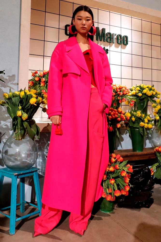 ***Fuchsia Pink***<br><br> According to the runways, pink is the new pink. Bright fuchsia was a feature across London, Paris and Milan.<br><bR> Jacquemus autumn/winter '19.