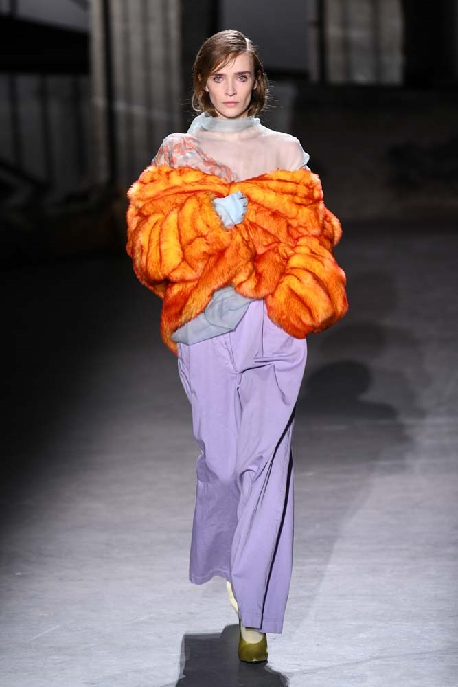 ***Fun Faux Fur***<br><br> Rock 'n roll without the guilt trip. Add patterned, printed or puffed up faux fur to any look to add an element of interest. <br><Br> Dries Van Noten autumn/winter '19.