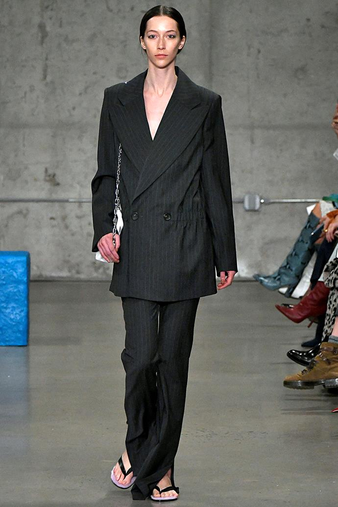 ***Strong Tailoring***<br><br> Soft, slouchy tailoring certainly had its moment, but if we learnt anything from Paris Fashion Week, it's that streamlined, strong tailoring is back. Think impeccably cut shoulders and nipped waists.<br><br> Tibi autumn/winter '19.