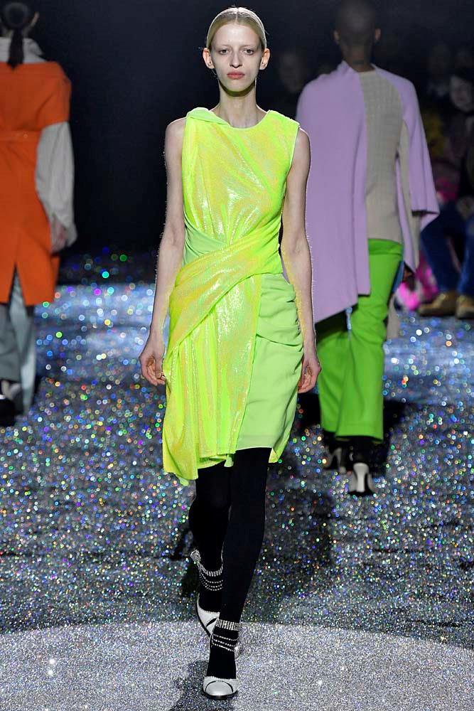 ***Neon***<br><br> Brighten things up with a touch of yellow, orange or pink neon, which was splashed all over the runways.<br><br> Sies Marjan autumn/winter '19.