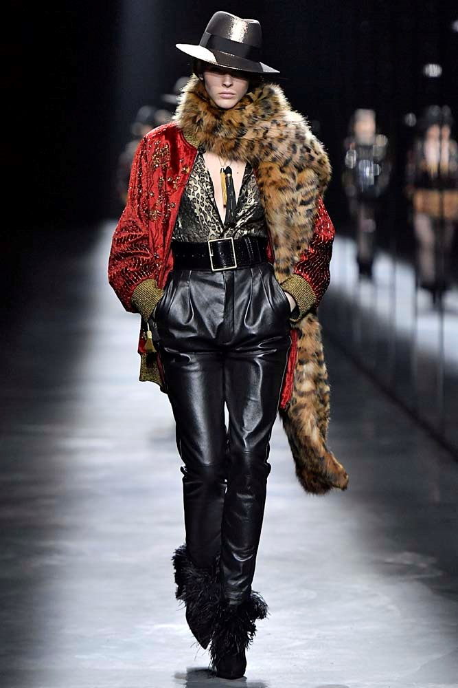 ***Fun Faux Fur***<br><br> Rock 'n roll without the guilt trip. Add patterned, printed or puffed up faux fur to any look to add an element of interest. <br><Br> Saint Laurent autumn/winter '19.
