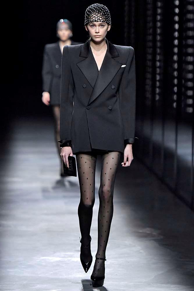 ***Bold Shoulder***<br><br> An '80s redux, designers were embracing the bold, structural shoulder for new collections.<br><bR> Saint Laurent autumn/winter '19.