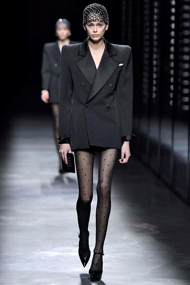 ***Bold Shoulder***<br><br> An '80s redux, designers were embracing the bold, structural shoulder for new collections.<br><bR> Saint Laurent autumn/winter '19.