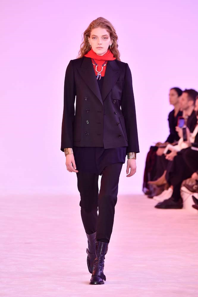 ***Strong Tailoring***<br><br> Soft, slouchy tailoring certainly had its moment, but if we learnt anything from Paris Fashion Week, it's that streamlined, strong tailoring is back. Think impeccably cut shoulders and nipped waists.<br><br> Chloé autumn/winter '19.
