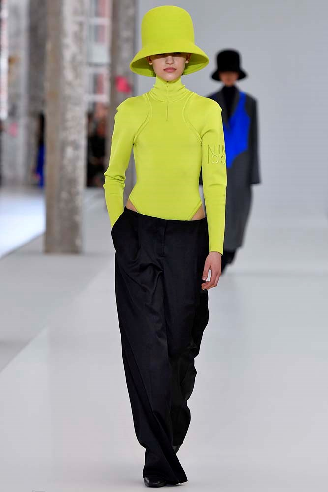 ***Neon***<br><br> Brighten things up with a touch of yellow, orange or pink neon, which was splashed all over the runways.<br><br> Nina Ricci autumn/winter '19.
