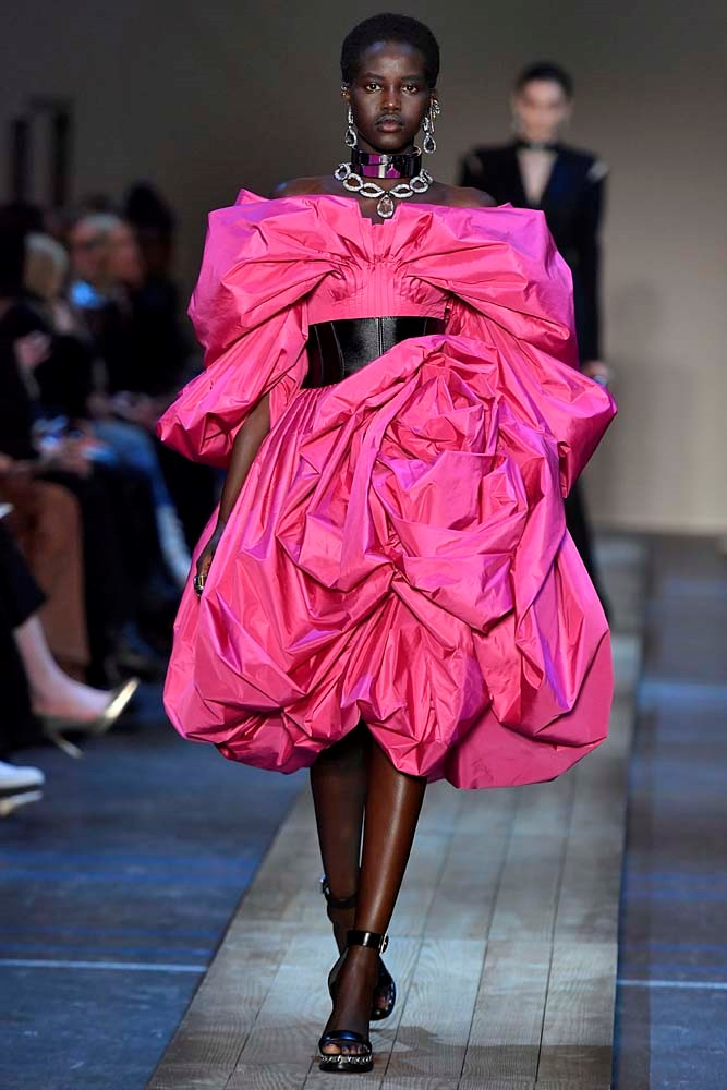 ***Fuchsia Pink***<br><br> According to the runways, pink is the new pink. Bright fuchsia was a feature across London, Paris and Milan.<br><bR> Alexander McQueen autumn/winter '19.