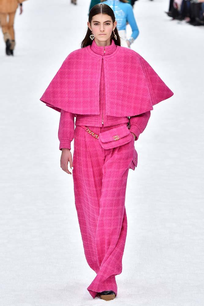 ***Fuchsia Pink***<br><br> According to the runways, pink is the new pink. Bright fuchsia was a feature across London, Paris and Milan.<br><bR> Chanel autumn/winter '19.