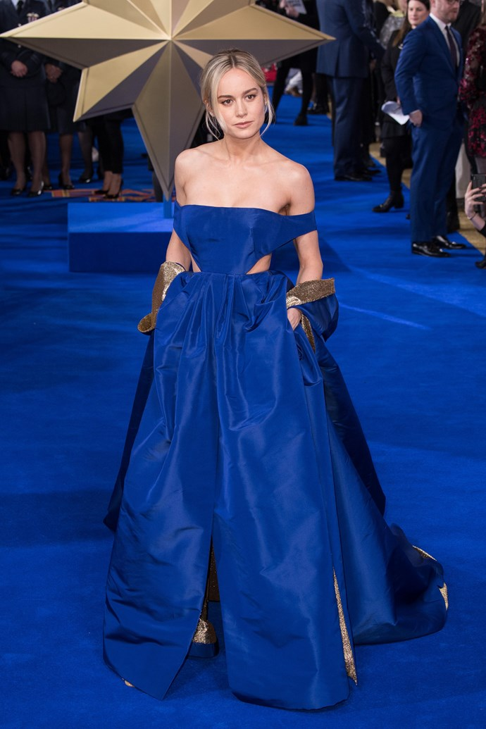 At the Gala screening of *Captain Marvel* on February 27, 2019, Larson wore a billowing azure Valentino gown with a long, superhero-esque cape.