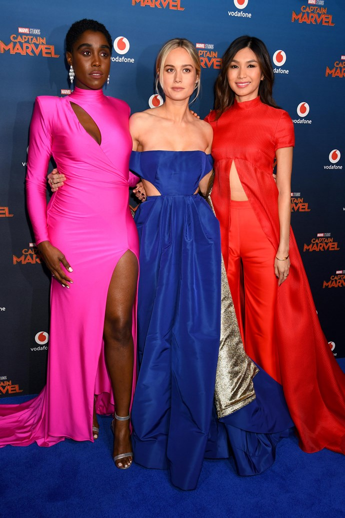On the same carpet, Larson's co-stars Gemma Chan and Lashana Lynch also donned their superhero best in powerful, brightly-coloured dresses—Lynch in Michael Costello, and Chan in Brandon Maxwell.