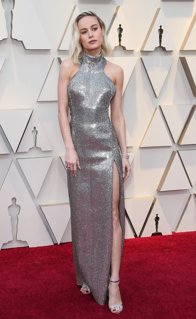 "At the Academy Awards on February 24, 2019, Larson took a turn for the sultry and wore one of [Hedi Slimane](https://www.harpersbazaar.com.au/fashion/hedi-slimane-drops-the-accent-from-celine-17268|target=""_blank"")'s dazzling sequinned Celine gowns, proving she has the power to blind all of us."