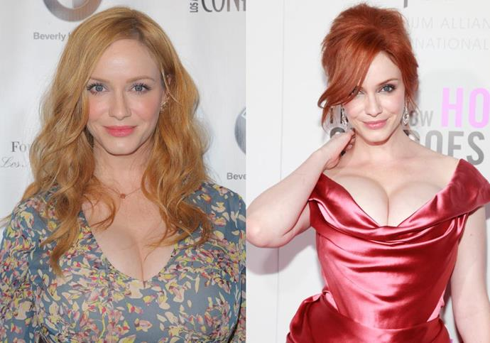 "***Christina Hendricks*** <br><br> We all know Hendricks as one of Hollywood's sexiest redheads, but the *Mad Men* actress frequently discloses that her famous red hair is, in fact, the result of persistent dyeing. She told *[Cosmopolitan](https://www.cosmopolitan.com/uk/beauty-hair/celebrity-hair-makeup/interviews/a34346/christina-hendricks-interview-hair-evolution/|target=""_blank""