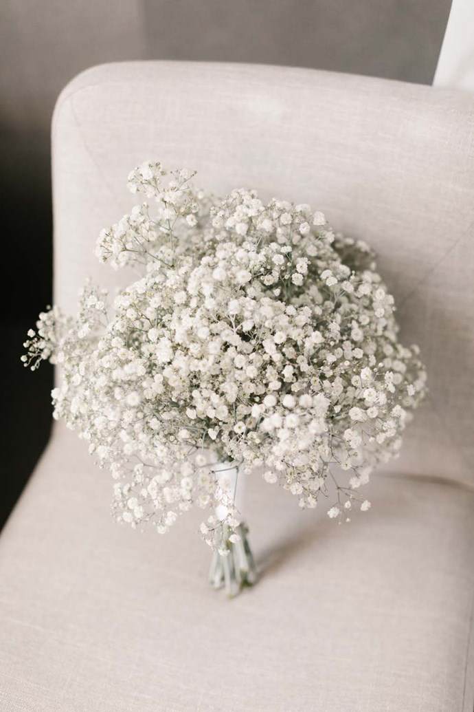 ***On her bouquet:*** I had Gyp (also known as 'baby's breath') as my bouquet as recommended by The Style Co. I wanted something simple and it tied in so perfectly with theother elements of the venue.