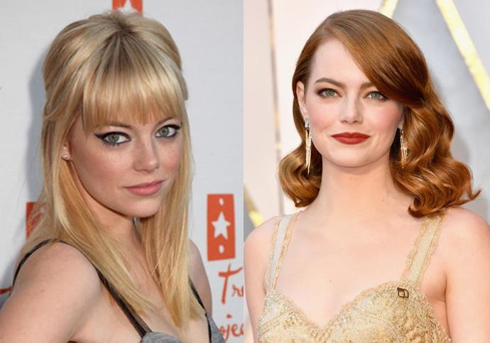***Emma Stone*** <br><br> Stone might have taken a new name for the stage (her real name is Emily, not Emma), but her hair is part of her career persona, too. Even though she's practically inseparable from her red hair these days, Stone was born blonde, and changed her hair upon suggestion from film director Judd Apatow in 2007.