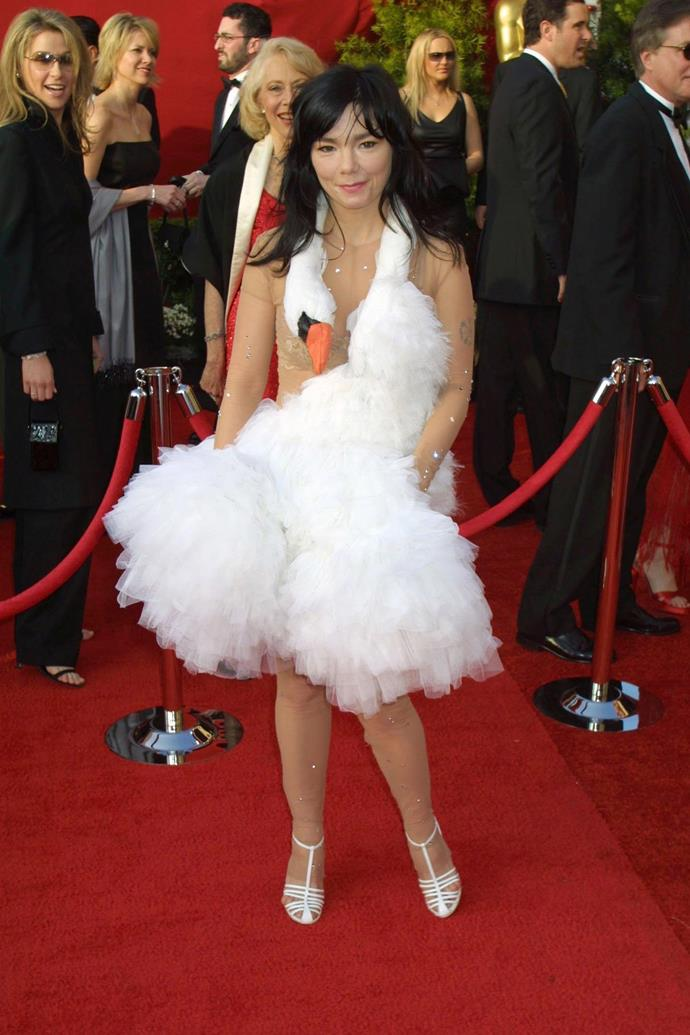 **Björk at the Academy Awards (2001)** <br><br> Björk turned the Academy Awards dress code on its head when she arrived at the 2003 awards in a comedic swan dress by designer Marjan Pejoski. If she wasn't a household name by then, the instantly-iconic dress helped her become one.