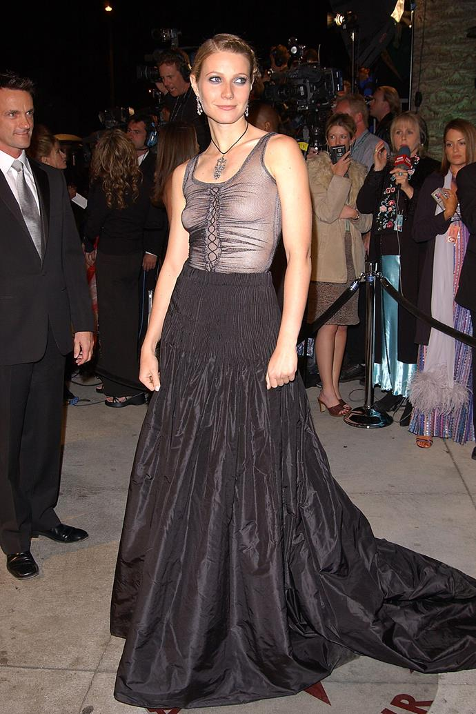 "**Gwyneth Paltrow at the Academy Awards (2002)** <br><br> Paltrow's Alexander McQueen gown couldn't have been more different from the pink satin [Ralph Lauren dazzler](https://www.harpersbazaar.com.au/fashion/style-profile-gwyneth-paltrow-12130|target=""_blank"") she wore to accept her Oscar for *Shakespeare In Love* in 1999. In 2013, Paltrow said: ""I still love the dress itself, but I should have worn a bra and I should have just had simple beachy hair and less makeup. Then, it would have worked as I wanted it to—a little bit of punk at the Oscars."""