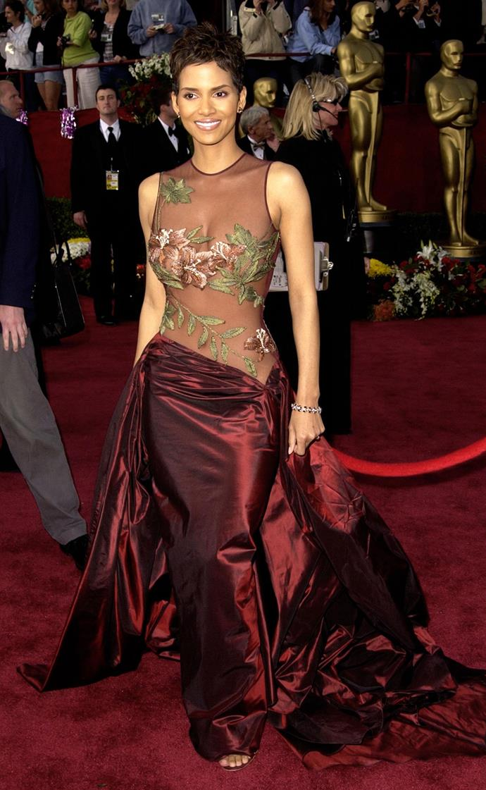 **Halle Berry at the Academy Awards (2001)** <br><br> Berry won her first Oscar for *Monster's Ball* at the 2001 Academy Awards—and her risqué sheer gown was a career-making moment for couturier Elie Saab.