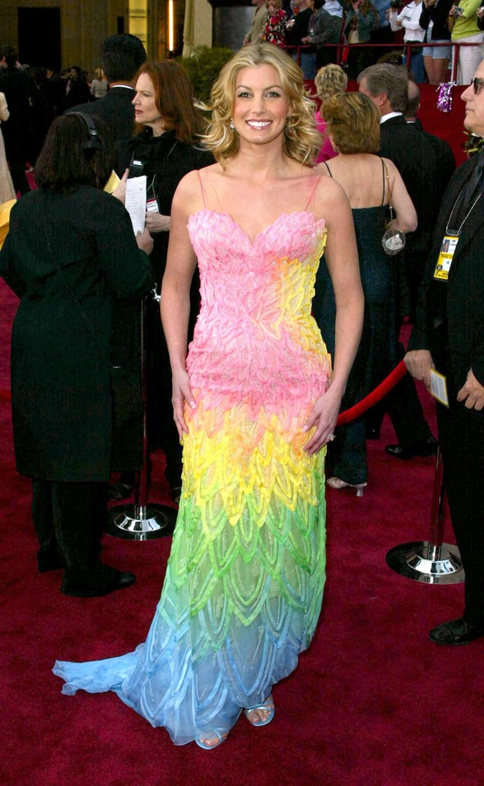 **Faith Hill at the Academy Awards (2002)** <br><br> The early-2000s Oscars ceremonies might have been a treasure trove of zany looks, but none came quite close to Faith Hill's over-the-top Versace dress, which featured almost every colour of the rainbow.