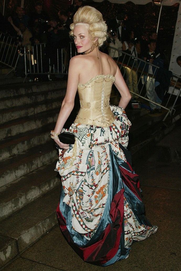**Amber Valletta at the Met Gala (2004)** <br><br> The theme of the 2004 Met Gala was 'Dangerous Liaisons' (like the famous film), so there was unsurprisingly an expectation to go above and beyond. However, supermodel Amber Valletta's take on aristocrat style—with a very fitting Dior by John Galliano skirt—is one of the most memorable in the history of the Met.