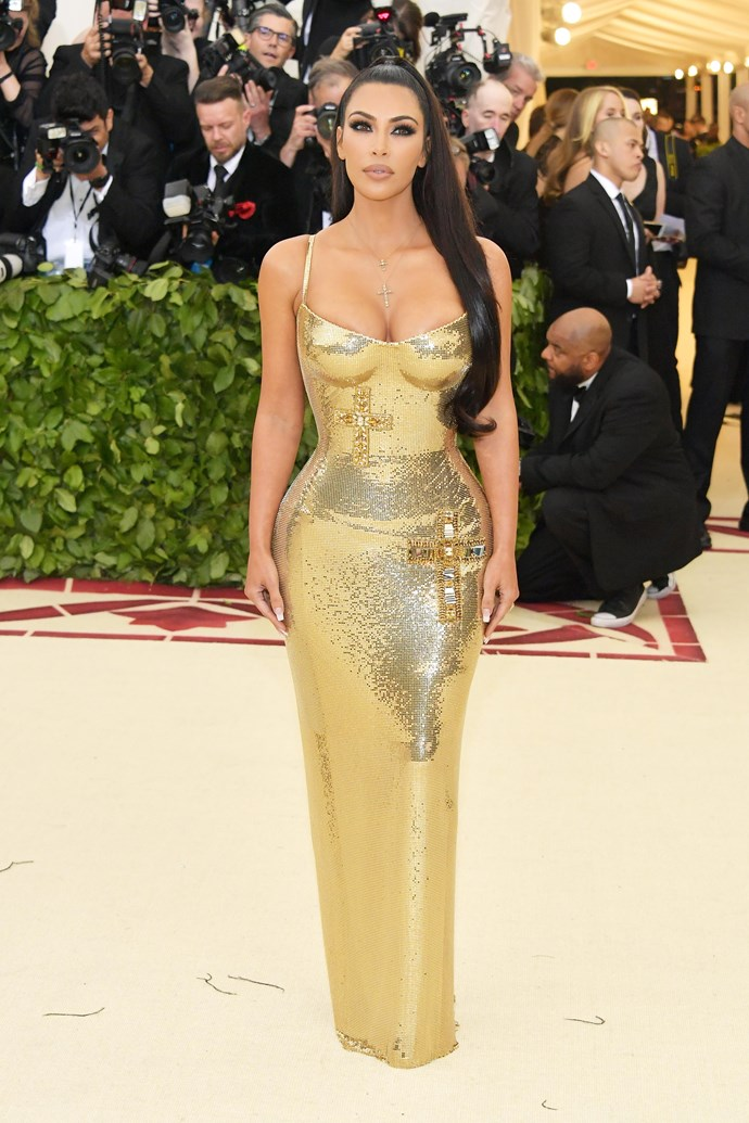 Kim Kardashian West in Versace at the 2018 Met Gala.