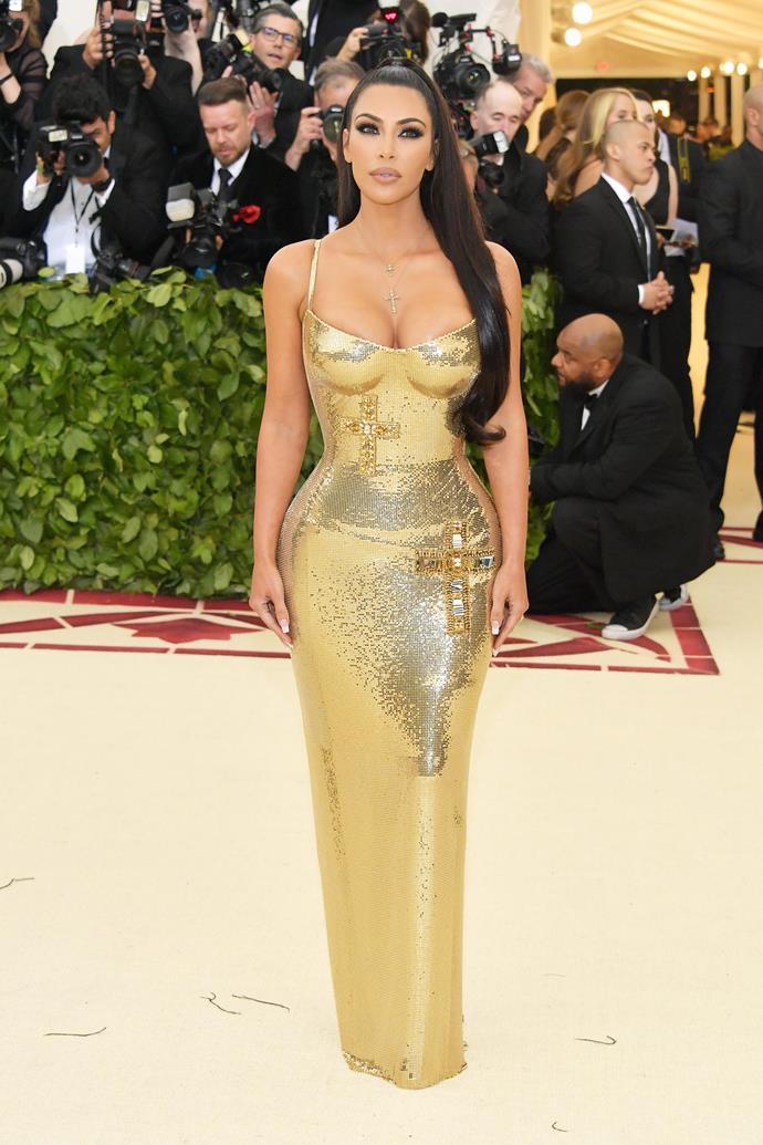 Kim Kardashian West in Versace at the 2018 Met Gala.