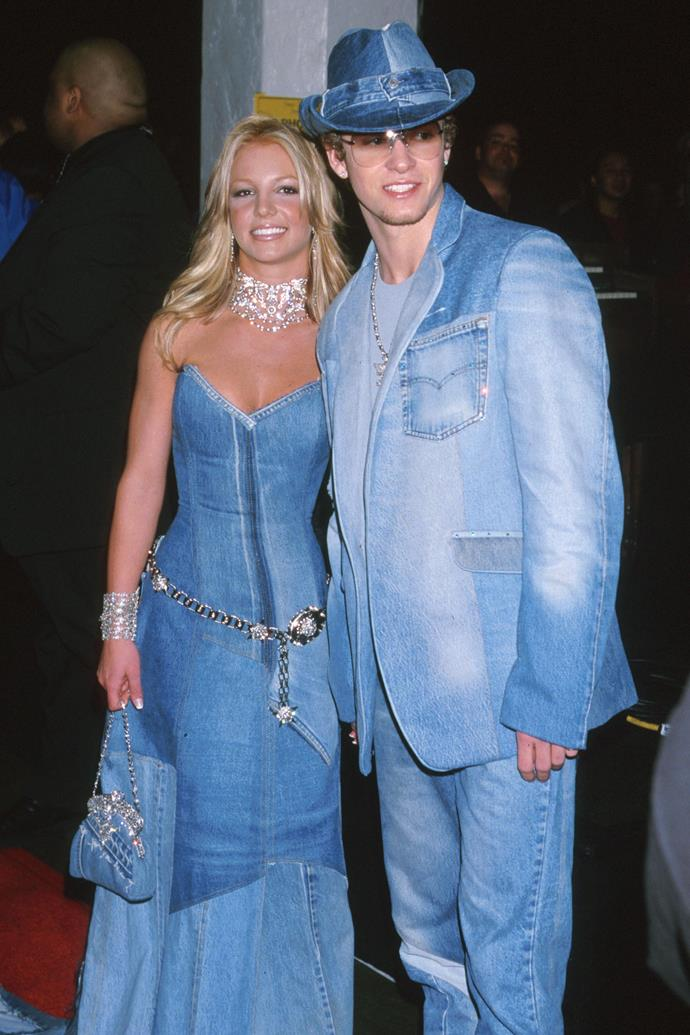 **Britney Spears and Justin Timberlake at the American Music Awards (2001)** <br><br> If the general public needed any convincing that Britney and Justin were the It-couple to end all It-couples, this was it. The twosome attended the 2001 AMAs in matching denim outfits that are *still* spawning imitations.