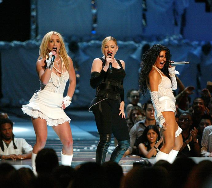 **Britney Spears and Christina Aguilera at the MTV VMAs (2003)** <br><br> Spears and Aguilera's turns as sexy brides at the VMAs (coupled with both of them kissing Madonna on stage) led to a barrage of complaints to MTV, saying the performance infringed on family-friendliness.