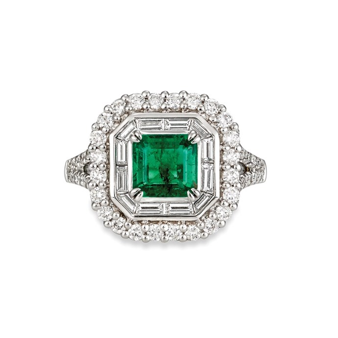 """**The Vibe: Almost Royal** <br><br> 1.40-carat emerald-cut emerald, surrounded with divine fine white baguette diamonds, set in 18-carat white gold, POA at [Matthew Ely](http://www.matthewely.com.au/products/emerald-and-diamond-dress-ring/5467/