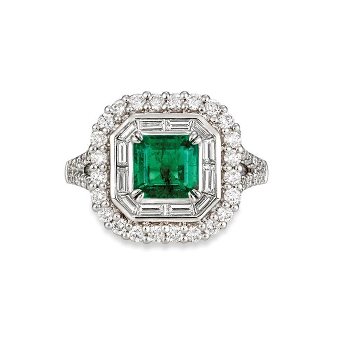 "**The Vibe: Almost Royal** <br><br> 1.40-carat emerald-cut emerald, surrounded with divine fine white baguette diamonds, set in 18-carat white gold, POA at [Matthew Ely](http://www.matthewely.com.au/products/emerald-and-diamond-dress-ring/5467/|target=""_blank""