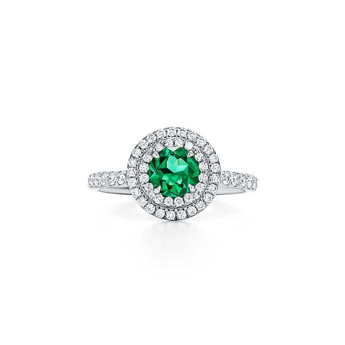 """**The Vibe: High Shine** <br><br> Ring in platinum with brilliant-cut diamonds and a round emerald, $18,200 at [Tiffany & Co.](https://www.tiffany.com.au/jewelry/rings/tiffany-soleste-ring-GRP09943?fromGrid=1&origin=search&trackpdp=search&fromcid=-1&trackgridpos=1