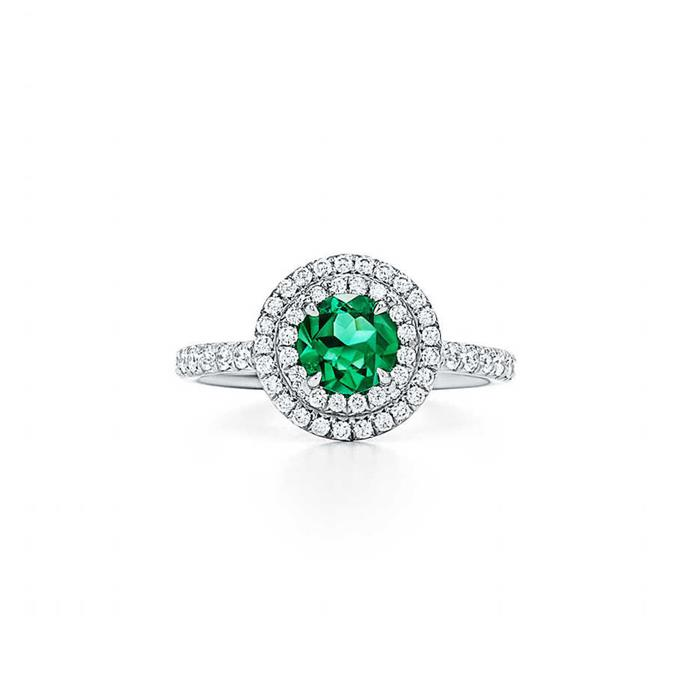 "**The Vibe: High Shine** <br><br> Ring in platinum with brilliant-cut diamonds and a round emerald, $18,200 at [Tiffany & Co.](https://www.tiffany.com.au/jewelry/rings/tiffany-soleste-ring-GRP09943?fromGrid=1&origin=search&trackpdp=search&fromcid=-1&trackgridpos=1|target=""_blank""