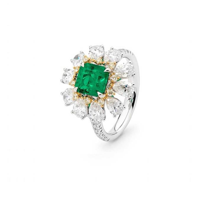 "**The Vibe: Unforgettable** <br><br> 18-carat white and yellow gold emerald and diamond ring, POA at [Cerrone](https://www.cerrone.com.au/high-jewellery/18ct-white-and-yellow-gold-emerald-and-diamond-ring-2/|target=""_blank""
