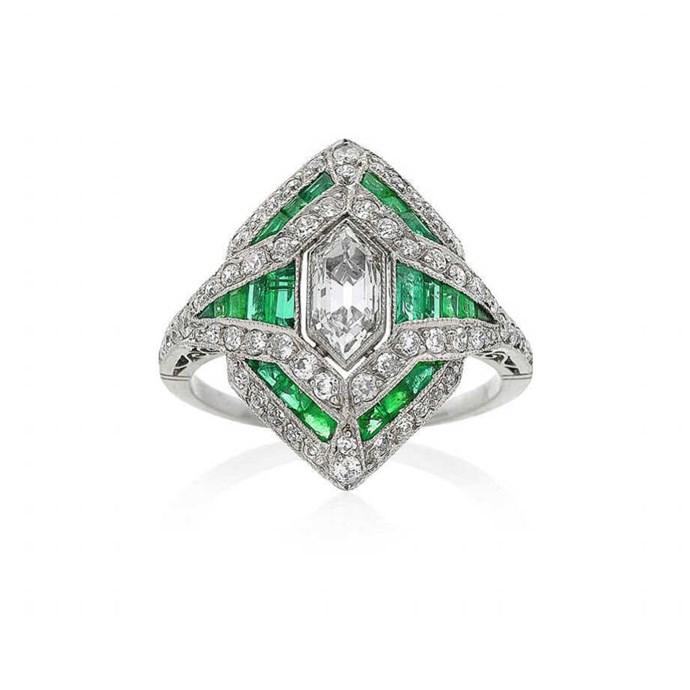 "**The Vibe: Art Deco** <br><br> Art Deco inspired emerald and diamond ring, POA at [Keshett](https://www.keshett.com.au/product/style-no-150459/|target=""_blank""|rel=""nofollow"")."