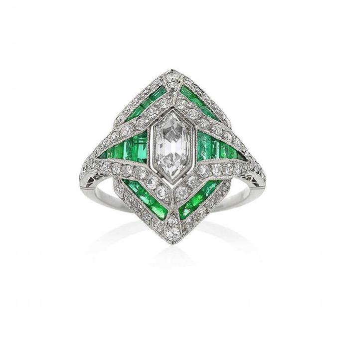 "**The Vibe: Art Deco** <br><br> Art Deco inspired emerald and diamond ring, POA at [Keshett](https://www.keshett.com.au/product/style-no-150459/ target=""_blank"" rel=""nofollow"")."