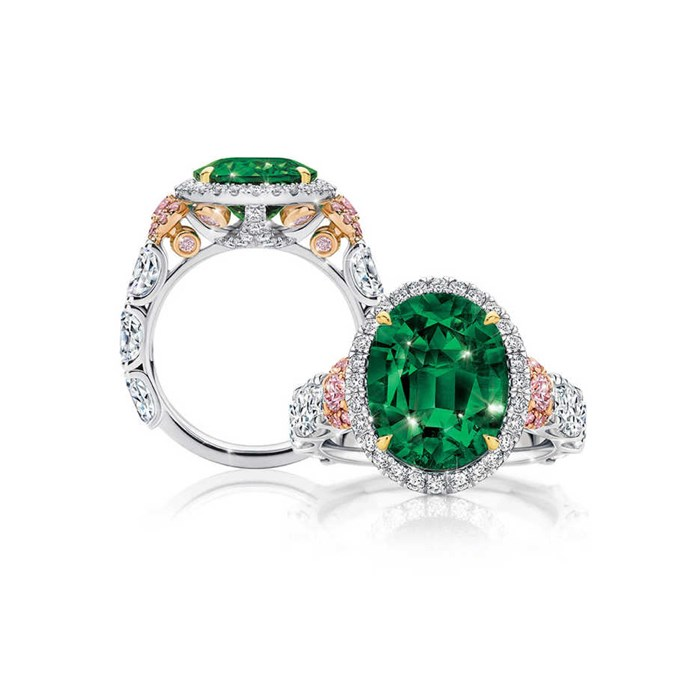 """**The Vibe: A Touch Of Pink** <br><br> Muzo oval-cut emerald surrounded by white diamonds and argyle pink diamonds, POA at [Calleija](https://calleija.com/muzo-emerald-and-pink-diamond-ring/