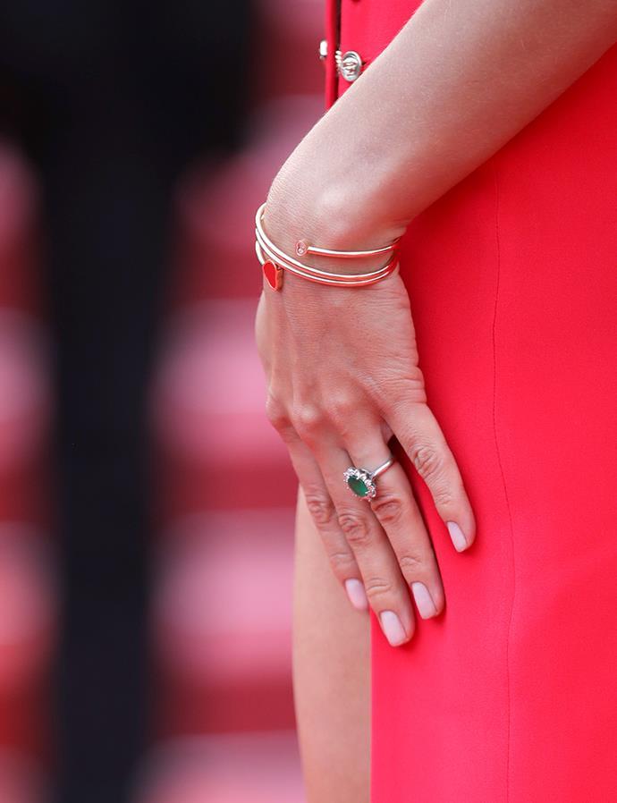 Irina Shayk's emerald ring.