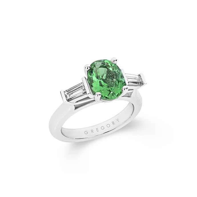 """**The Vibe: Steamlined** <br><br> Oval emerald and diamond Trilogy ring with classic band, POA at [Gregory Jewellers](https://www.gregoryjewellers.com.au/oval-emerald-diamond-trilogy-ring-with-classic-band.html