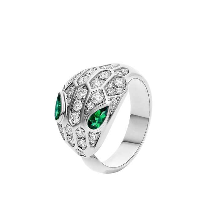 """**The Style: Bold** <br><br> Serpenti ring in 18-carat white gold set with two emerald eyes and pavé diamonds, $19, 650 at [Bvlgari](https://www.bulgari.com/en-au/354400.html