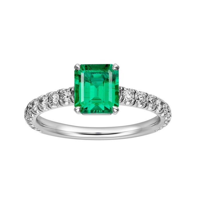 """**The Vibe: Timeless** <br><br> Solitaire 1895, 950 per cent platinum, set with an emerald-cut emerald and brilliant-cut pavé diamonds, POA at [Cartier](https://www.cartier.com/en-us/collections/engagement/engagement-rings/solitaire-1895/n4762700-1895-solitaire-ring.html#CRN4762700