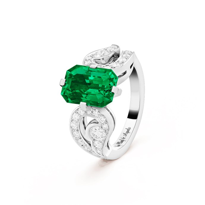"**The Vibe: Unique** <br><br> Aladdin solitaire, platinum, round diamonds, emerald-cut 3.69-carat emerald, POA at [Van Cleef & Arpels](https://www.vancleefarpels.com/ww/en/collections/bridal/unique-solitaires/vcarp0iq00-aladdin-solitaire-369-ct.html|target=""_blank""|rel=""nofollow"")."