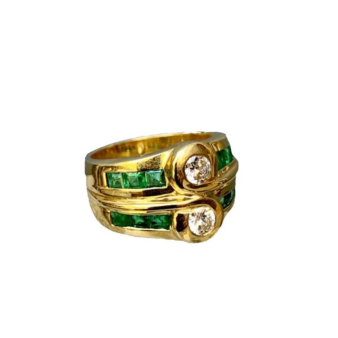 "**The Vibe: Vintage** <br><br> Vintage diamond and emerald double ring, $8,800 at [Becker Minty](https://www.beckerminty.com/vintage-diamond-and-emerald-double-ring-18ct-yello.html|target=""_blank""